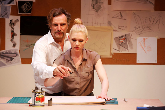 Sean Haberle and Christy McIntosh in <I>False Solution</I>.