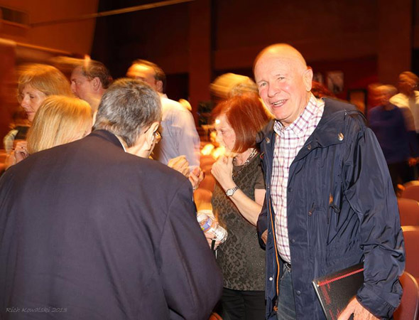 Terrence McNally enjoys the opening night of his newest play, <i>Mothers and Sons</i>, at Bucks County Playhouse.<br />(© Rich Kowalski)