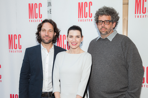 Actors Paul Rudd and Julianna Margulies with <i>The Mercy Seat</i> playwright Neil LaBute. <br />(© Seth Walters)
