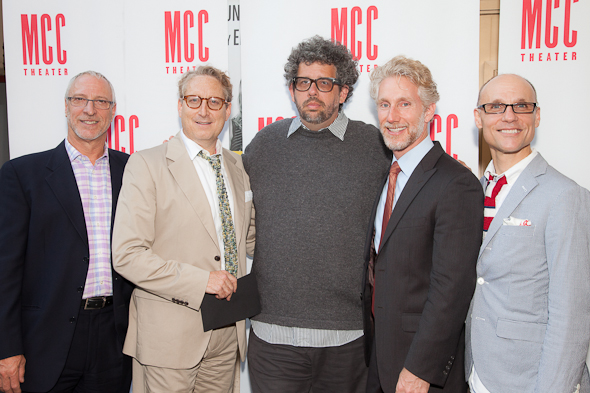MCC Theater's Artistic Directors Robert LuPone, Bernard Telsey, and William Cantler, and Executive  Director Blake West pose alongside <i>The Mercy Seat</i> playwright Neil LaBute. <br />(© Seth Walters)