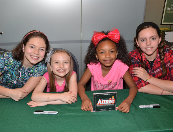 Madi Rae DiPietro, Emily Rosenfeld, Tyrah Skye Odoms, and Georgi James are excited to be featured on a Broadway cast album.<br />(© David Gordon)