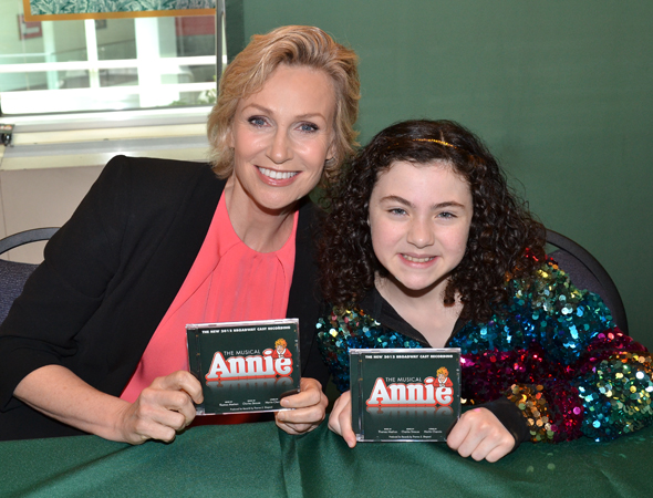 Jane Lynch and Lilla Crawford show off their brand new CDs.<br />(© David Gordon)