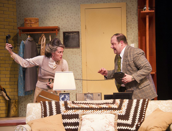 Rideout and Gelber duke it out as Barney and Jeannette.<br />(© Rachel Philipson)