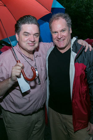 Oliver Platt and Jay O. Sanders show off their weather-appropriate attire.<br />(© Simon Luethi)