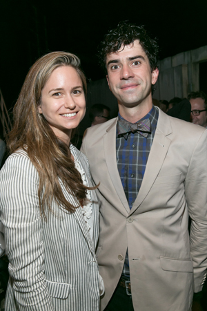 Cast member Hamish Linklater is joined for a photo by Katherine Waterston.<br />(© Simon Luethi)