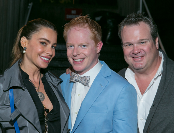 Sofia Vergara and Eric Stonestreet join their <i>Modern Family</i> costar Jesse Tyler Ferguson for a family photo.<br />(© Simon Luethi)