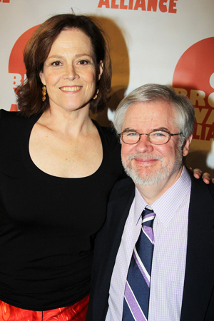Sigourney Weaver and Christopher Durang were presented with Legend of Off Broadway awards.<br />(© 2013 Bruce Glikas/OffBroadwayAlliance)