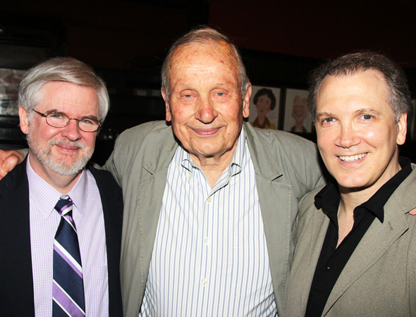 Legendary playwrights Christopher Durang, A.R. Gurney, and Charles Busch smile for the camera.<br />(© 2013 Bruce Glikas/OffBroadwayAlliance)
