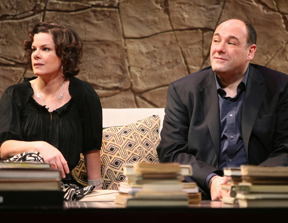 Gandolfini played self-made wholesaler Michael in <I>God of Carnage</I>. Marcia Gay Harden played his wife, socially conscious author Veronica. <br />(© Joan Marcus)