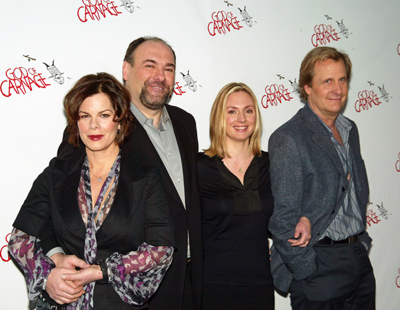 Marcia Gay Harden, James Gandolfini, Hope Davis, and Jeff Daniels at the opening of <I>God of Carnage</I>.<br />(© Joseph Marzullo / WENN)