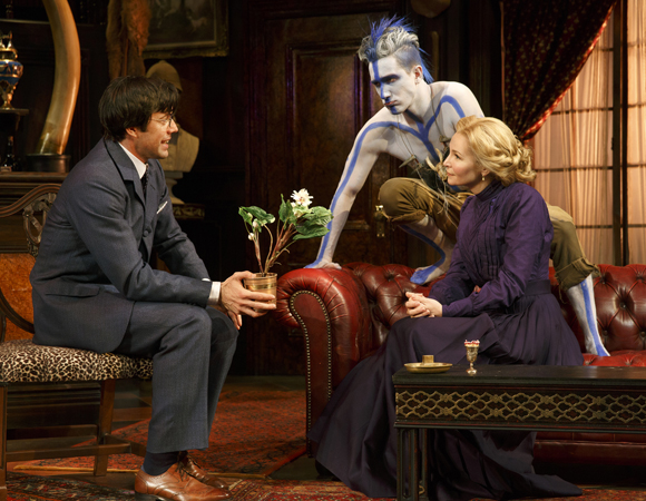 Lorenzo Pisoni as Lucius Fretway, Carson Elrod as Luigi, and Jennifer Westfeldt as Phyllida Spotte-Hume in a scene from <i>The Explorers Club</i>, now running at NY City Center — Stage I.