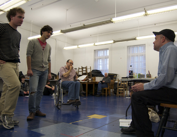 Director and playwright Burgess Clark (far right) works with actors Ian Shain, Felix Teich, and Allan Mayo during rehearsals for <i>Reflections of a Rock Lobster</i> at Boston Children's Theatre.