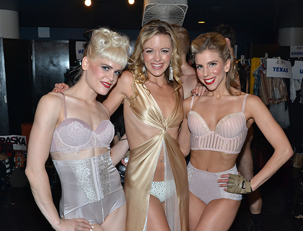 <i>Bring It On</i>'s Kate Rockwell, flanked by two Broadway Bares dancers, is enjoying the wild world of burlesque.<br />(© David Gordon)