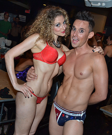 Lauren Molina and Nick Cearley of The Skivvies are in their element at Broadway Bares.<br />(© David Gordon)