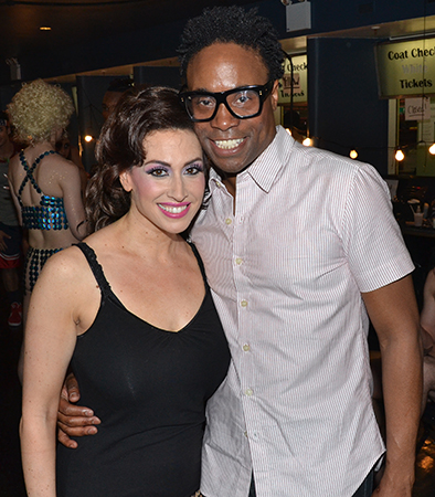 Lesli Margherita (<i>Matilda</i>) snaps a photo with recent Tony winner Billy Porter (<i>Kinky Boots</i>).<br />(© David Gordon)