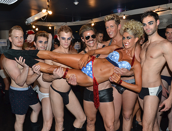 The Broadway Bares dancers pose for a picture.<br />(© David Gordon)