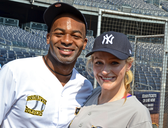 They may be playing on rival teams, but Brandon Victor Dixon and Betsy Wolfe are old pals.<br />(© David Gordon)