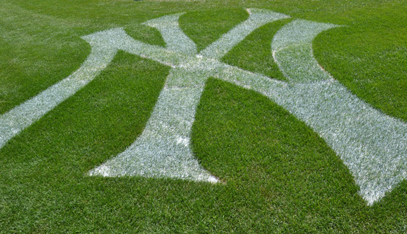 The official Yankees insignia on the field.<br />(© David Gordon)