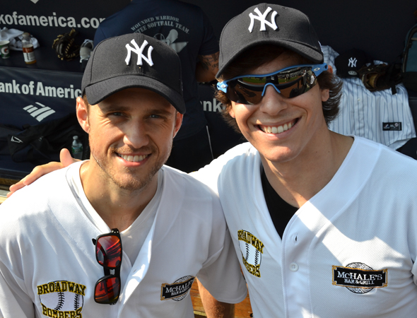 Dueling Fiyeros: Aaron Tveit and Derek Klena play for the Broadway Bombers. <br />(© David Gordon)