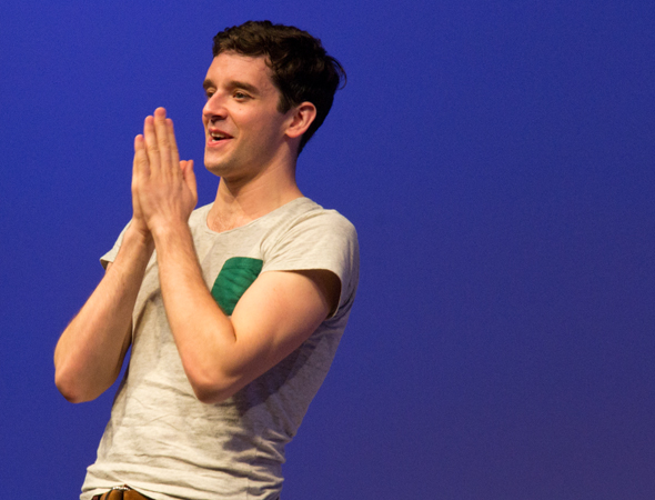 Michael Urie takes his curtain call in <i>Buyer & Cellar</i>.<br />(© David Gordon)