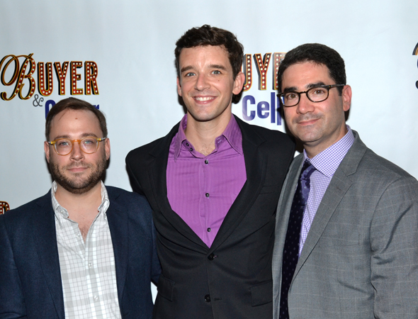 The <i>Buyer & Cellar</i> team: director Stephen Brackett, star Michael Urie, and playwright Jonathan Tolins.<br />(© David Gordon)