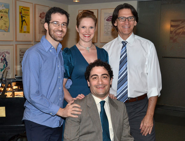Maté with his performers for the evening: Grace McLean, Will Aronson, and Bob Stillman.<br />(© David Gordon)