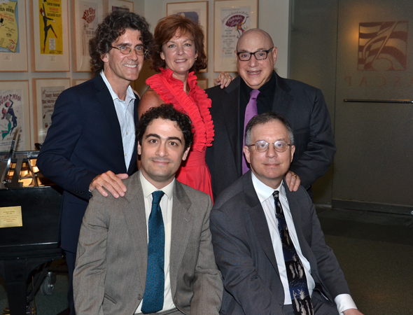 Maté and Gordon with the Kelban Prize judges: Sean Hartley, Michele Pawk, and Henry Krieger.<br />(© David Gordon)