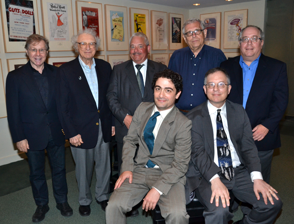 Maté and Gordon with the Kleban Prize board of directors: Maury Yeston, Sheldon Harnick, Elliot H. Brown, Richard Maltby, Jr., and Richard Terrano.<br />(© David Gordon)