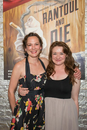 Castmates Sarah Lemp and Vanessa Vaché enjoy opening night together.<br />(© Russ Rowland)