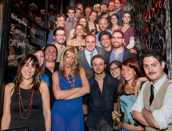 The Amoralists gather together to celebrate the New York premiere of <i>Rantoul and Die</i> at the Cherry Lane Theatre.<br />(© Russ Rowland)