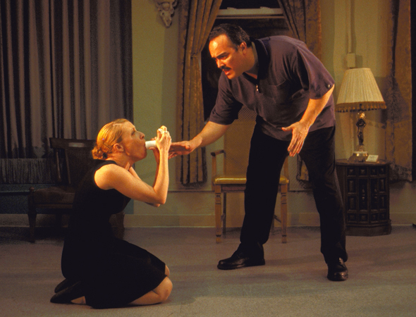 Along with playing Angel Batista on <i>Dexter</i>, David Zayas is a prolific stage actor and has been a member of Off-Broadway's LAByrinth Theater Company since the early 1990s. Here he is opposite Elizabeth Canavan the 2008 production of <i>The Little Flower of East Orange</i>.<br />(© Webb Wilcoxen)