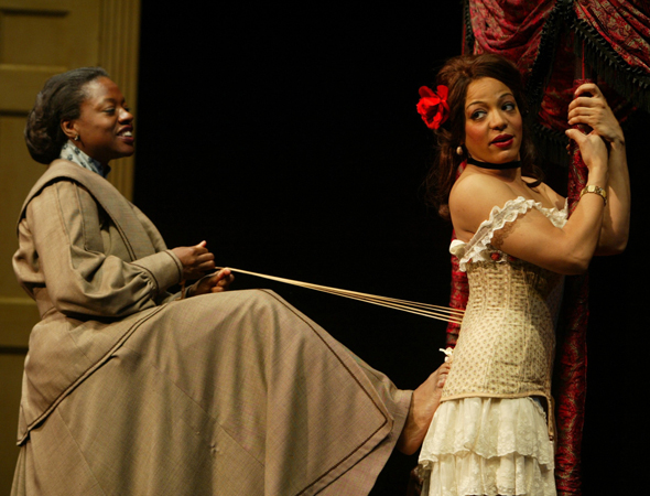 For seven seasons, Lauren Vélez played Dexter Morgan's on-again/off-again adversary, Lieutenant (and later Captain) María LaGuerta. On stage, she has appeared in the original Broadway production of <i>Into the Woods</i> and Lynn Nottage's <i>Intimate Apparel</i> (seen here) Off-Broadway.<br />(© Joan Marcus)