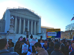 The scene outside the U.S. Supreme Court during oral arguments in March.