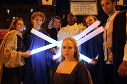 The Shakespeare in the Parking Lot cast of <I>Cymbeline</I>...with light sabres!