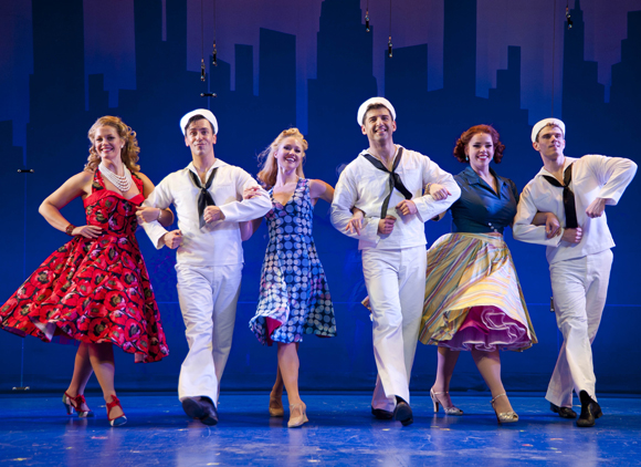 Elizabeth Stanley, Clyde Alves, Deanna Doyle, Tony Yazbeck, Alysha Umphress, and Jay Armstrong Johnson in <i>On the Town</i>