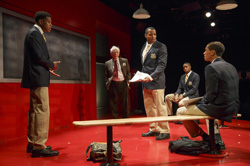 Jeremy Pope, Austin Pendleton, Wallace Smith, Grantham Coleman, and Kyle Beltran in <I>Choir Boy</I>