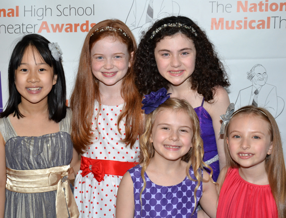 The young ladies of Broadway's <i>Annie</i> are excited to see Broadway's newest stars.<br />(© David Gordon)