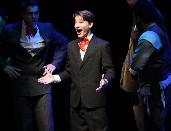 Taylor Varga shows off his winning J. Pierrepont Finch from <i>How to Succeed in Business Without Really Trying</i>.<br />(© Henry McGee/NHSMTA)
