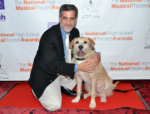 Noted animal trainer Bill Berloni and his pal Sunny (who plays Sandy in <i>Annie</i>) share a photo.<br />(© David Gordon)