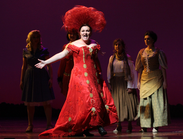 Sarah Lynn Marion performs her winning role, Dolly Levi in <i>Hello, Dolly!</i>.<br />(© Henry McGee/NHSMTA)