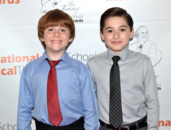 The boys of <i>Newsies</i> show off their big smiles.<br />(© David Gordon)