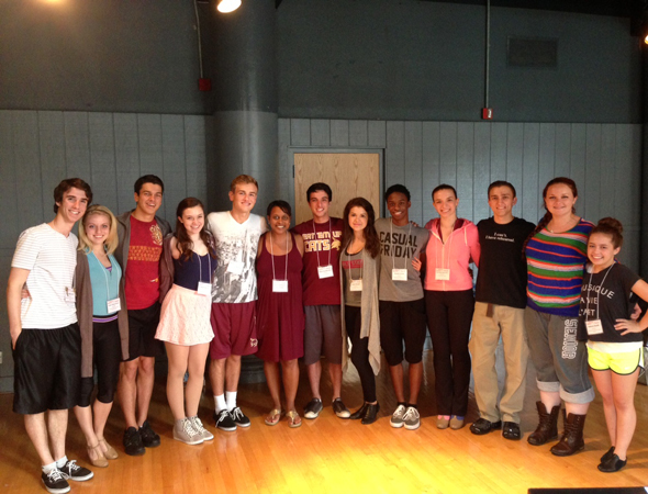 Ryne (center) and his fellow Jimmy Award nominees in a coaching session with NYU teacher and Broadway veteran, Schele Williams-Kleinberger.