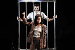 Brent Barret and Jenn Harris in <i>Silence! The Musical</i>