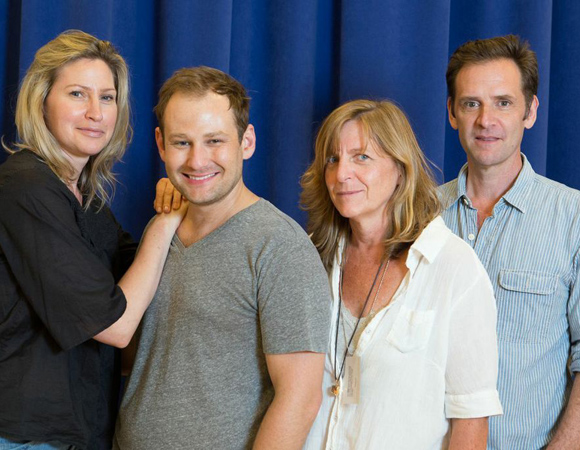 Malcolm Gets (right) with <i>Julian Po</i> costars Luba Mason (left) and Chad Kimball (second from left), and director Kirsten Sanderson.