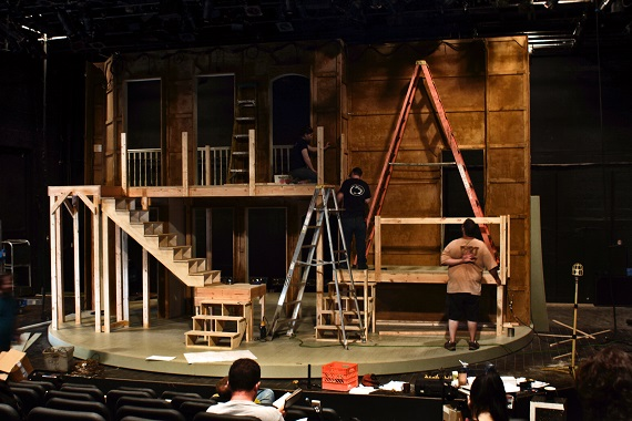 The build of Tony Straiges' Act II set for <i>Noises Off</i> at People's Light & Theatre Company