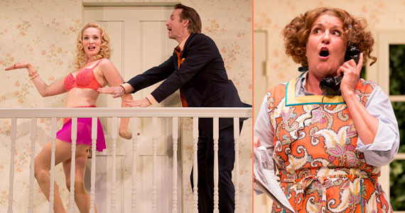Jessica Bedford, Christopher Kelly, and Marcia Saunders in <i>Noises Off</i> at People's Light & Theatre Company