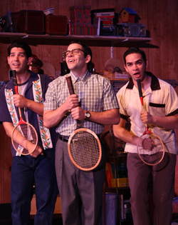 Daniel Tatar (Denny), Jim Holdridge (Eugene), and Ryan Castellino (Wally).