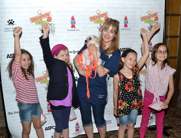 Broadway's four Matildas, joined by co-star Lauren Ward, salute the great event.<br />(© David Gordon)