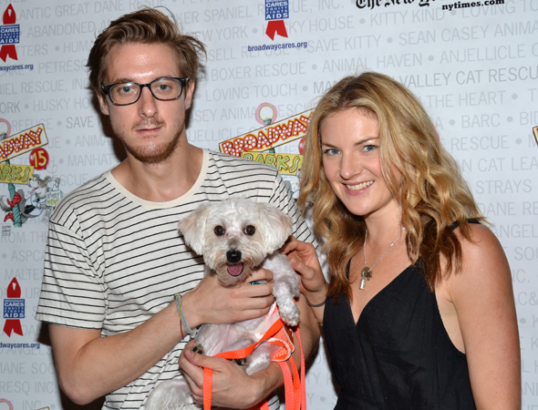 <i>Once</i> stars Arthur Darvill and Joanna Christie are falling slowly for this camera-friendly canine.<br />(© David Gordon)