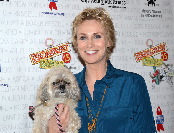 Jane Lynch smiles alongside her own dog, Olivia.<br />(© David Gordon)